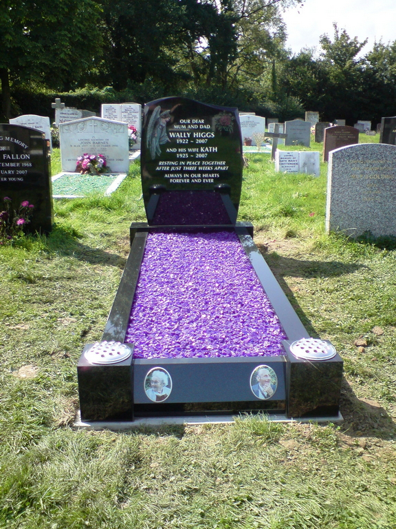 Black granite- Headstone, kerbs + lilac chips, photo plaques and etching.jpg